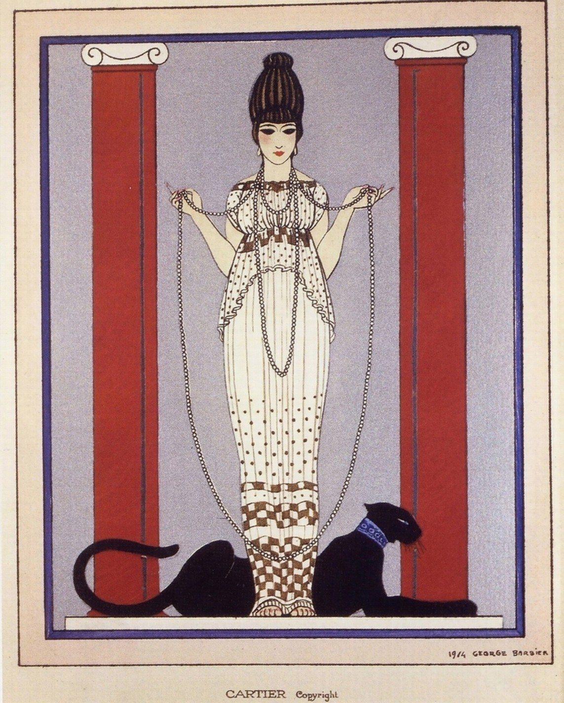 1914年美洲豹第一次出現在卡地亞,是一張邀請函上的水彩畫。圖/卡地亞提供