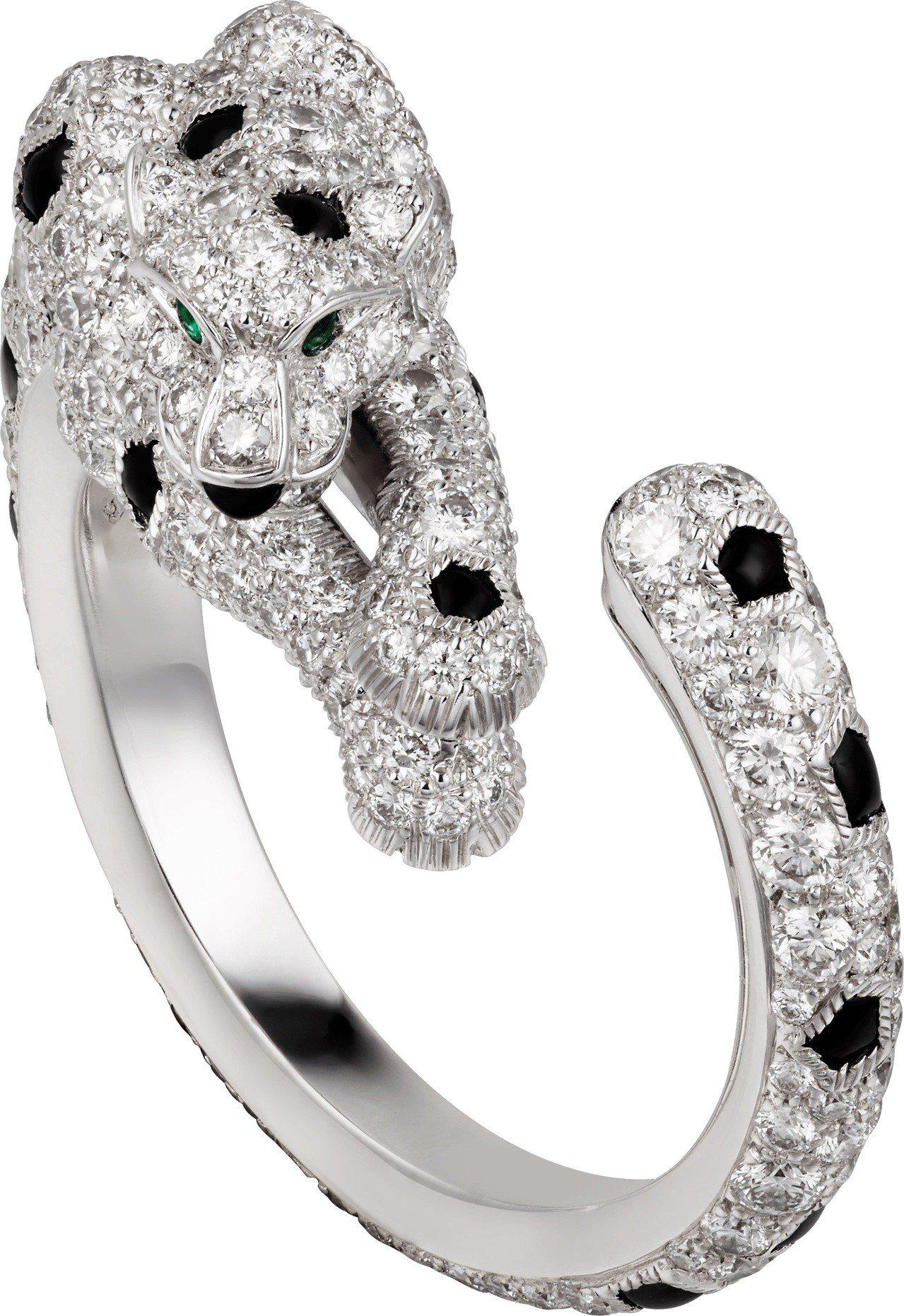 卡地亞 Panthere Lovée纏繞的豹鋪鑽戒指,117萬元。圖/卡地亞提...