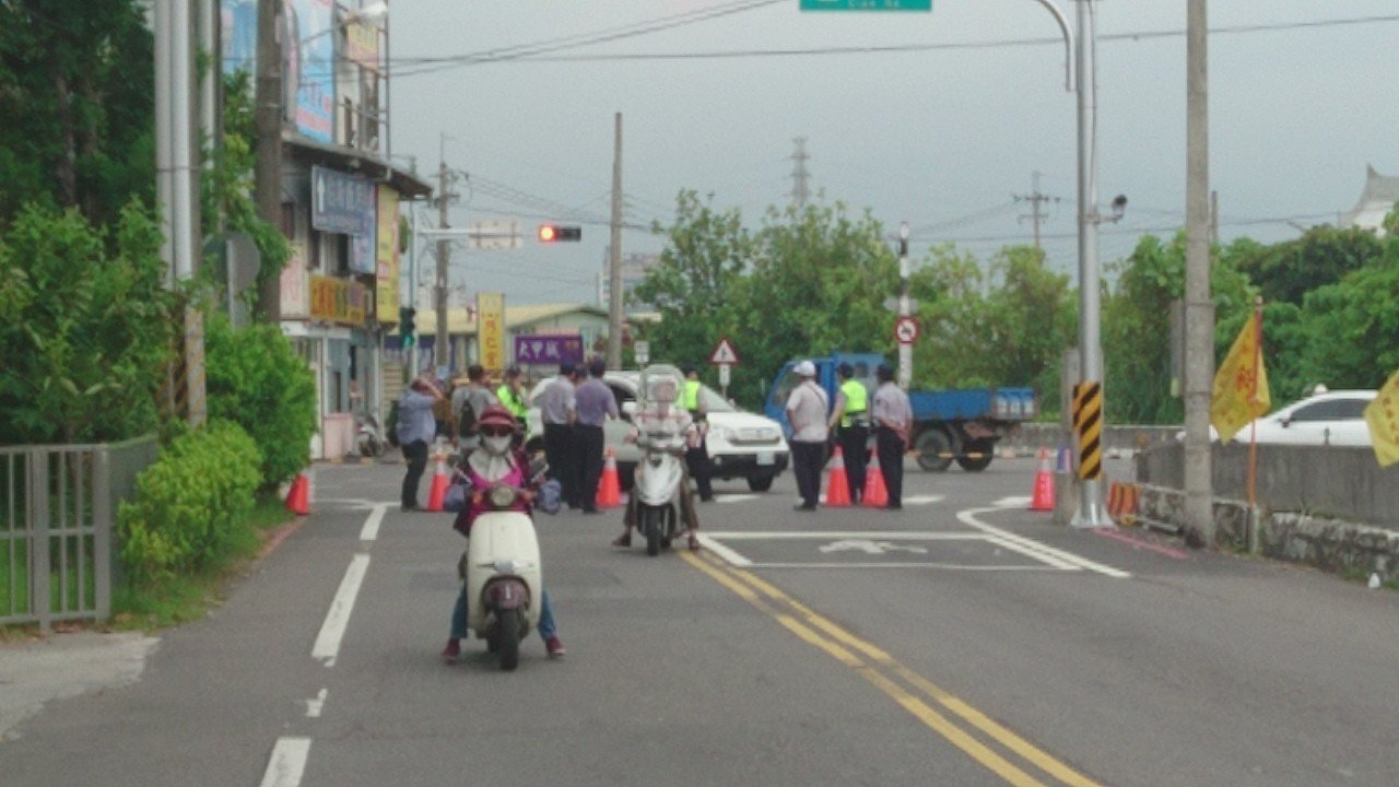 蔡總統今天到宜蘭,慈雲寺周邊道路管制。記者羅建旺/攝影