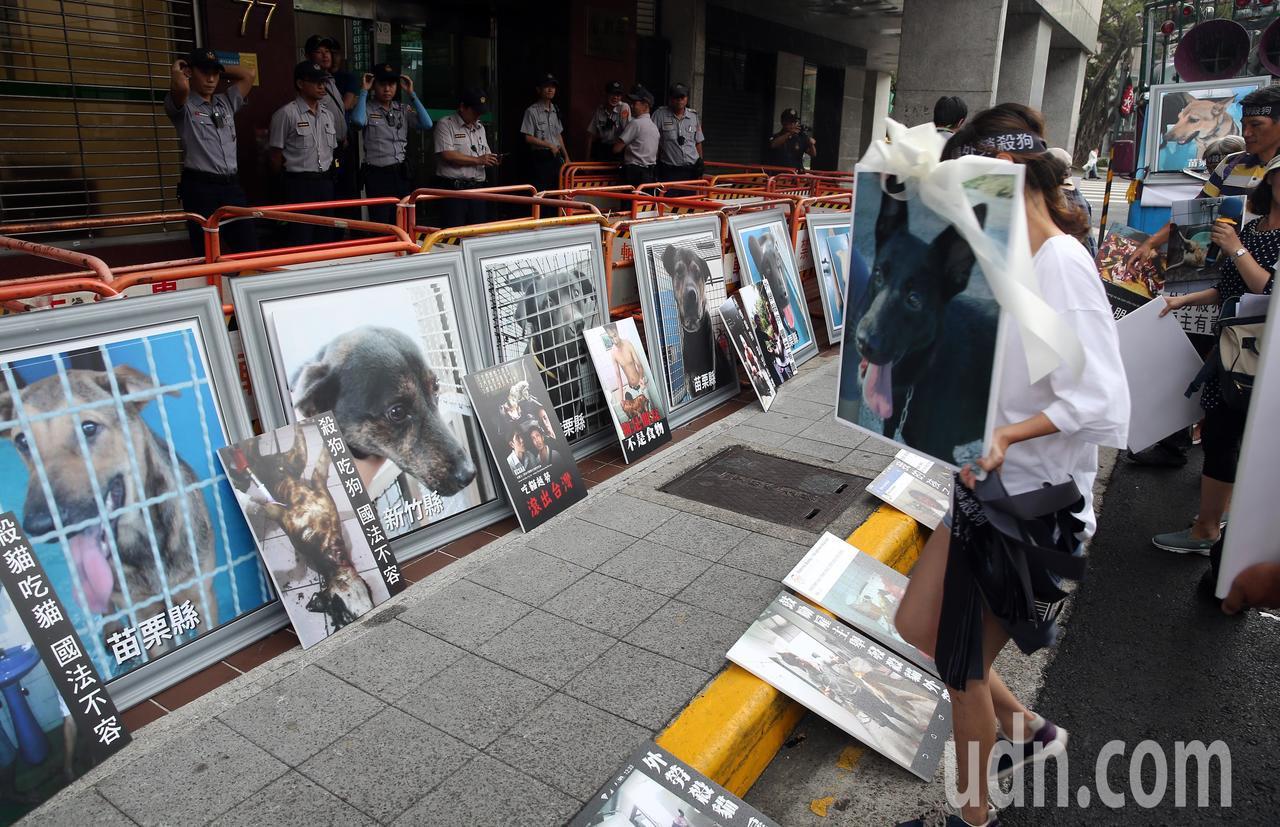 動保團體保猋護生聯盟下午到勞動部抗議,拿著受虐動物照片,要求勞動部修法增加僱主責...