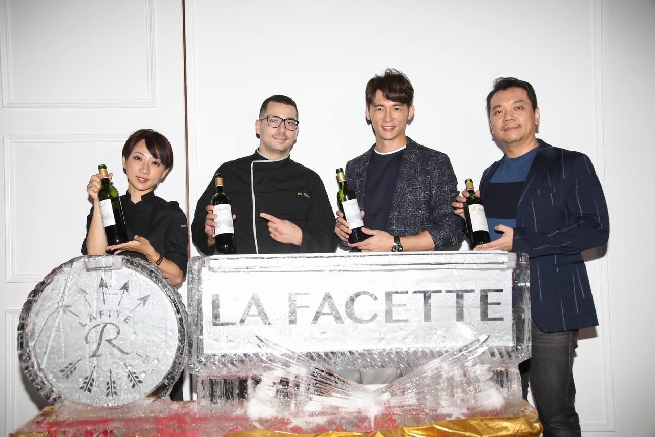 溫昇豪(右二)以老闆身份,出席La Facette酒窩開幕記者會。圖/La Fa...