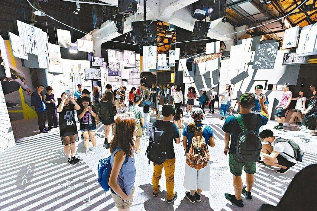 「光影東京!360度夢幻視覺系特展」已在華山熱烈展出中,圖為展區「澀谷區」。 圖...