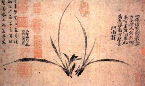 南宋畫家鄭思肖善於畫蘭花,他作畫、花葉疏離、不畫根土。他說,失根的蘭花何須畫土。...