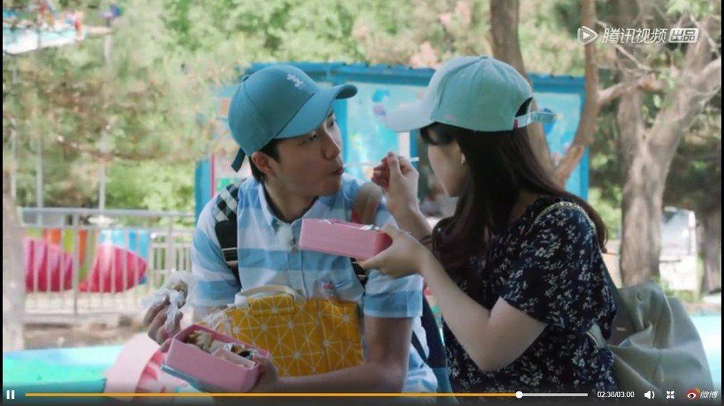 福原愛、江宏傑節目中還一同互餵中餐。圖/擷自微博。