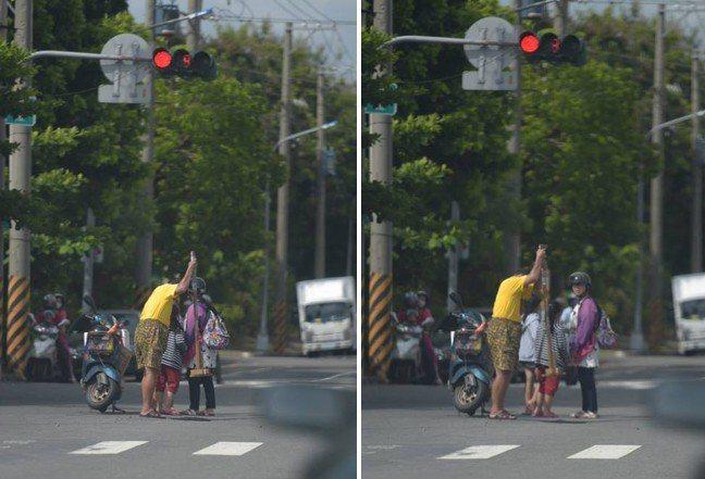 網友目擊一家人趁紅燈的時候自己去補馬路,照片中可見疑似父親拿著工具,媽媽左顧右盼...