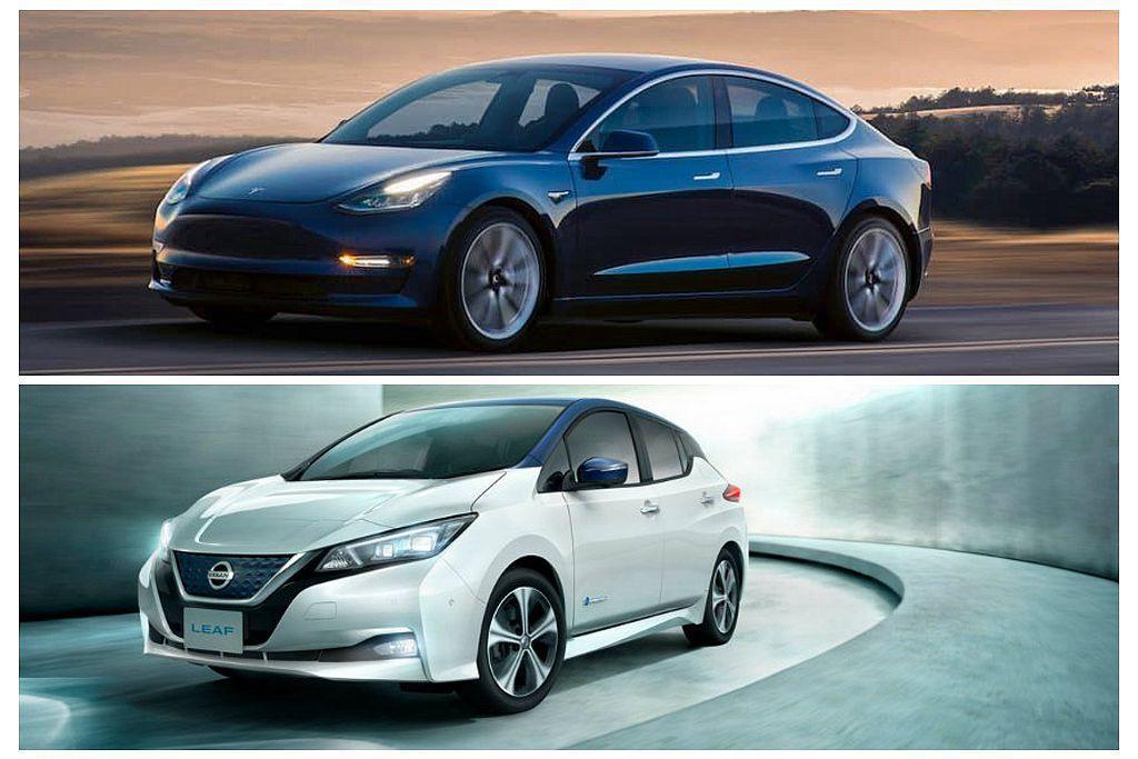 走平價路線的Tesla Model 3、Nissan Leaf兩款電動車,都將在...