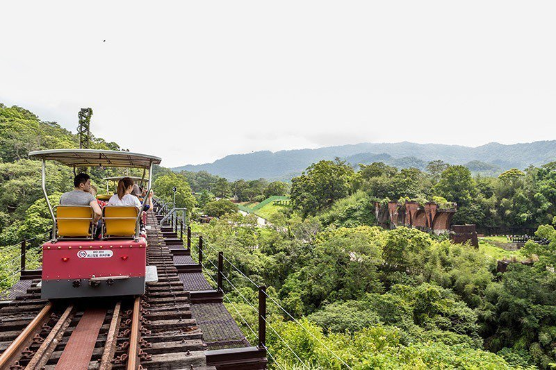 搭乘全台唯一鐵道自行車,高空遠眺龍騰斷橋。 攝影/行遍天下