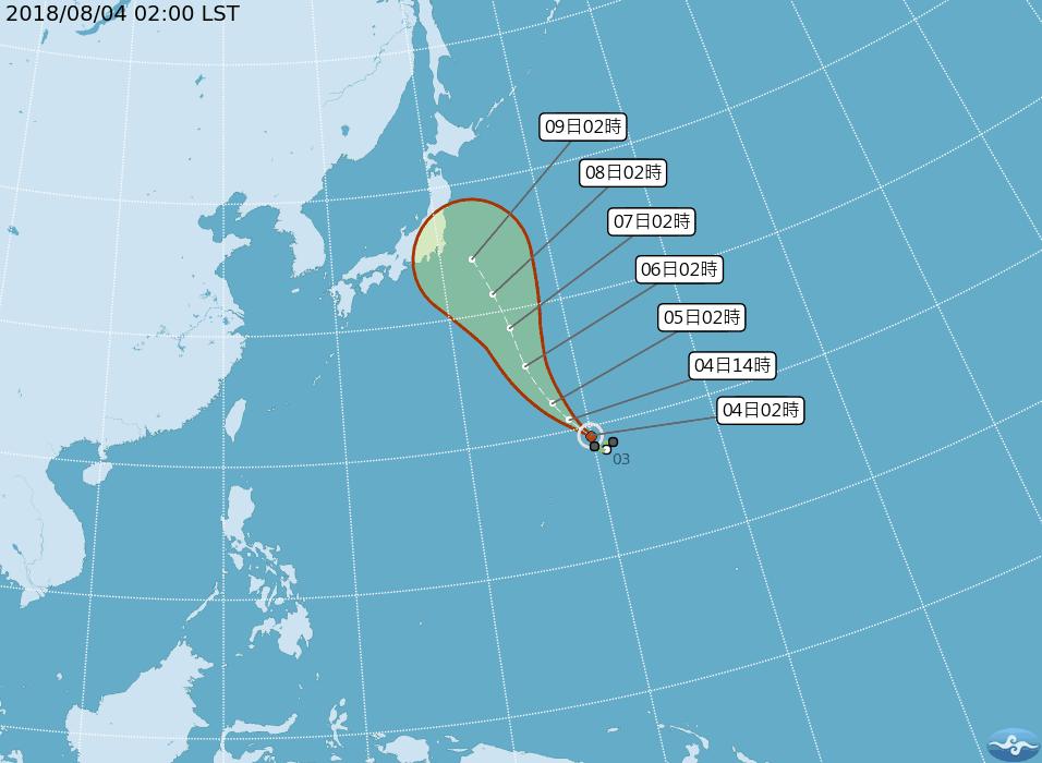 吳德榮指出,珊珊颱風沿著太平洋高壓的西沿,向北北西,朝日本方向前進;5天後,不確...