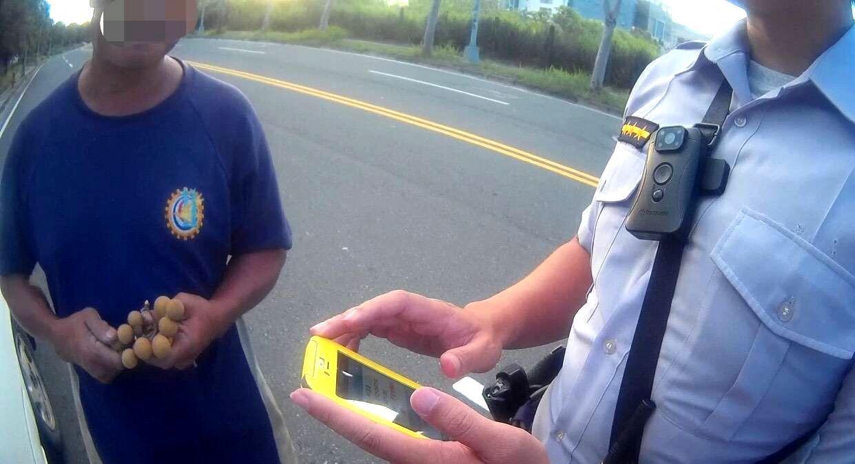 林姓男子涉嫌酒後開車遇警攔查,先拿出一串龍眼剝殼。記者林保光/翻攝