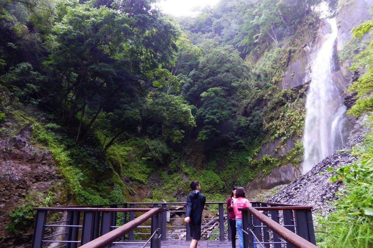 奧萬大國家森林遊樂區擁有全台第二高的負離子,步道今天重新開放,不少遊客上山避暑,...