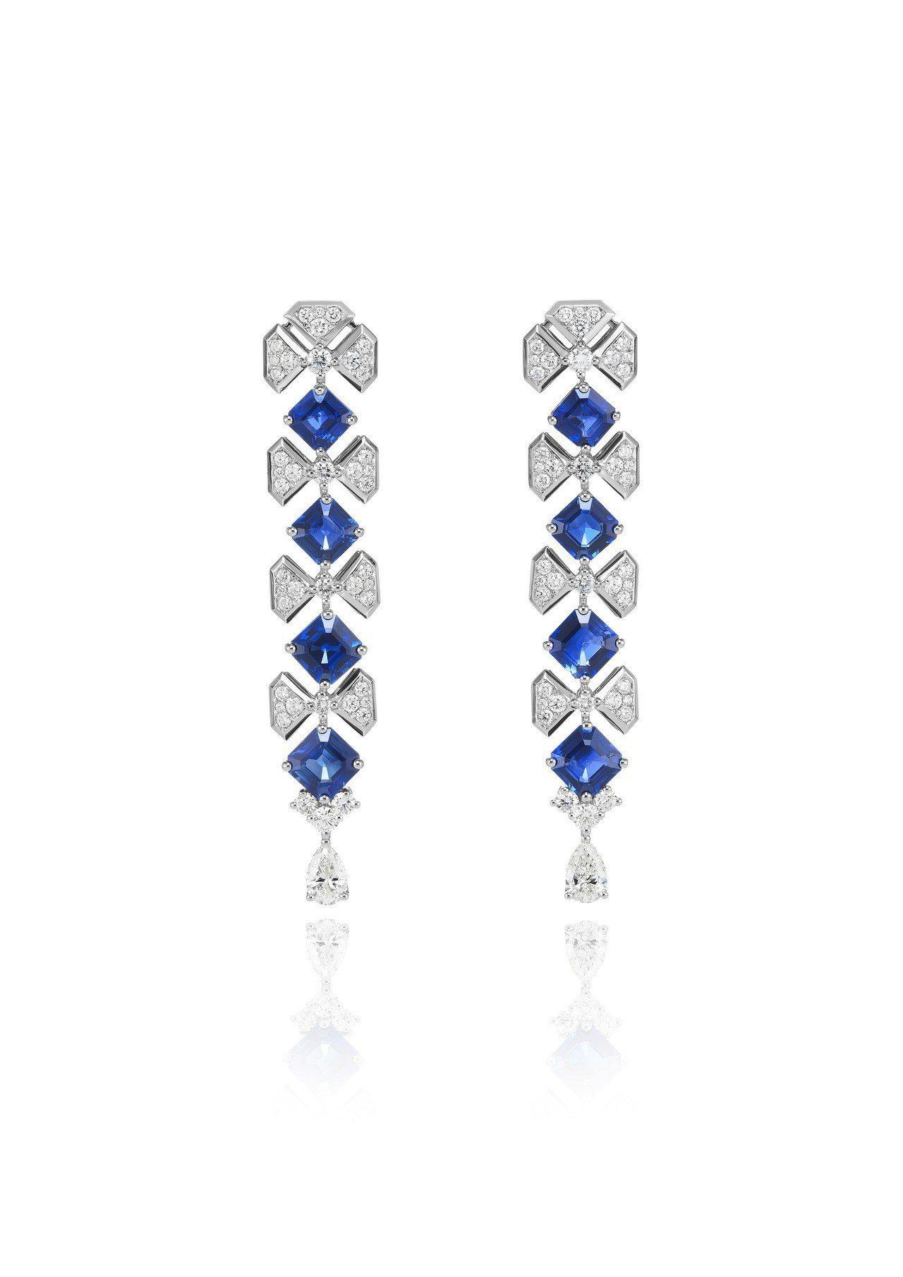 蕭邦頂級珠寶系列18K白金手環鑲嵌總重9.9克拉藍寶石與2.61克拉鑽石,326...