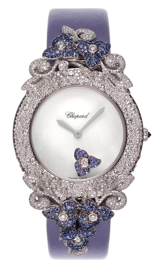 頂級珠寶系列腕表,18K白金鑲嵌5.68克拉鑽石與1.24克拉藍寶石、珍珠母貝表...
