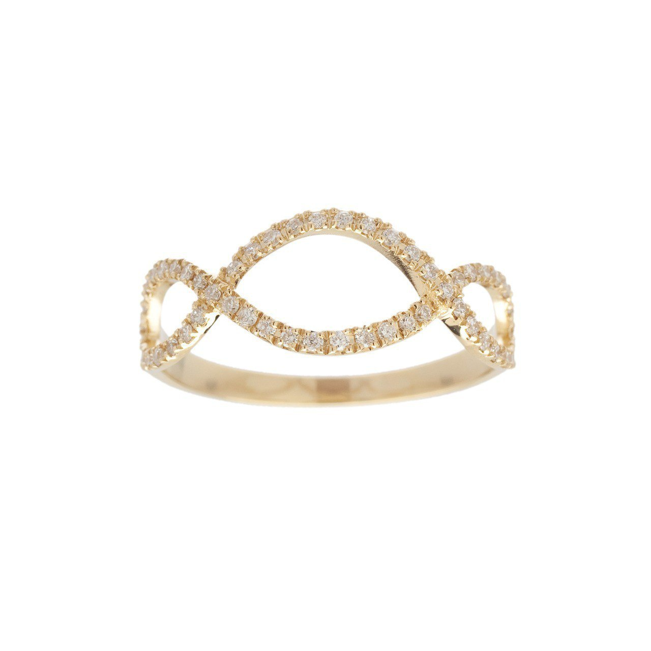 梅根經常戴在大拇指上的Vanessa Tugendhaft 黃K金鑲鑽「無限8字...