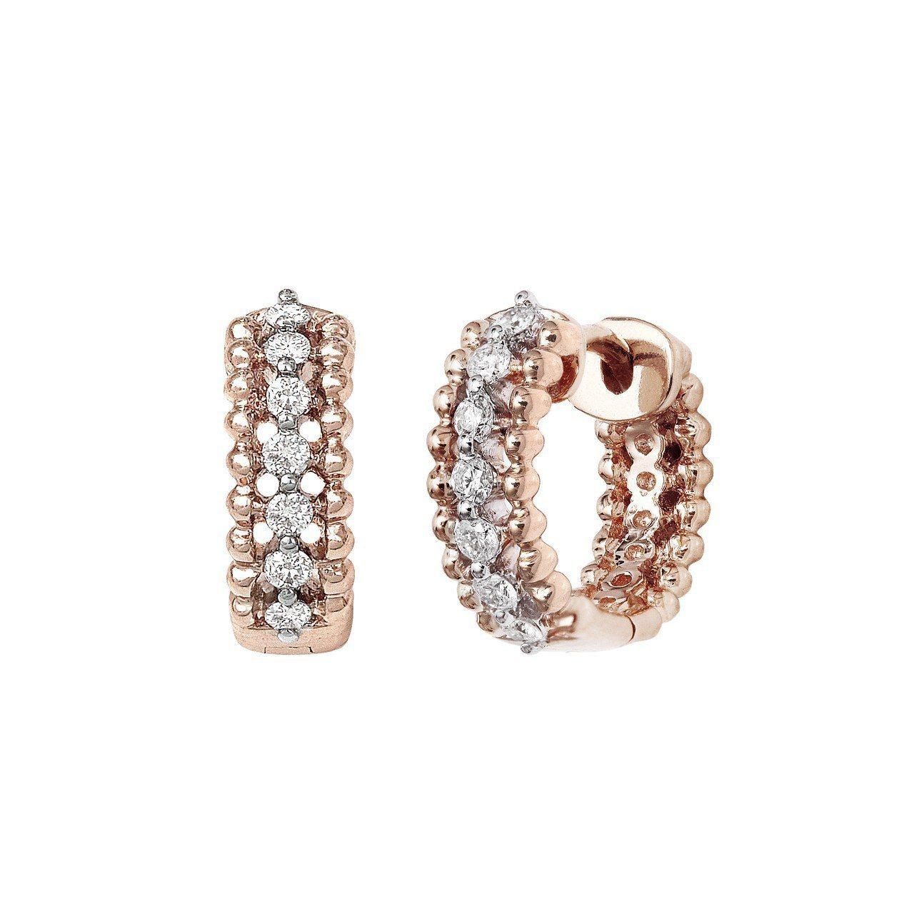 梅根同款的Vanessa Tugendhaft 旋轉木馬玫瑰金鑲鑽耳針耳環,約4...