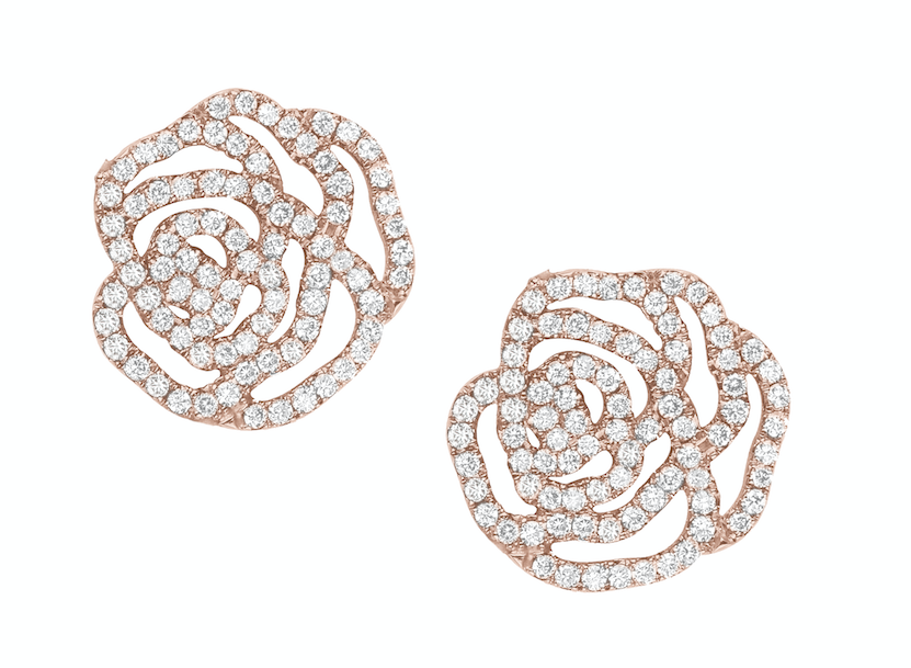 梅根同款的Vanessa Tugendhaft IDYLLE玫瑰圖案玫瑰金鑲鑽耳...
