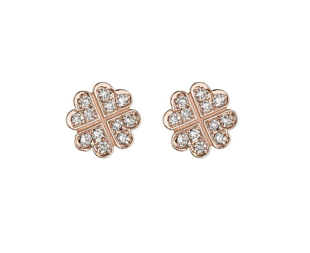 梅根同款的Vanessa Tugendhaft 幸運草玫瑰金鑲鑽耳針耳環,約26...