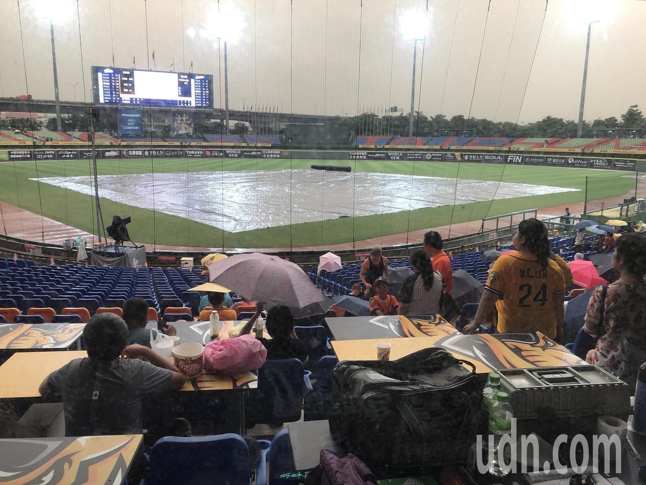 中華職棒中信與富邦的比賽因雨暫停。記者黃仲裕/攝影