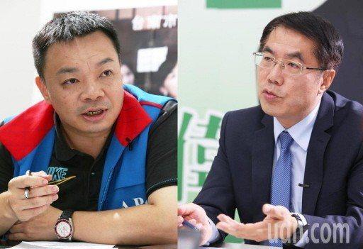 民進黨台南市長參選人黃偉哲(右)和國民黨台南市長參選人高思博陣營,都對網路流言攻...