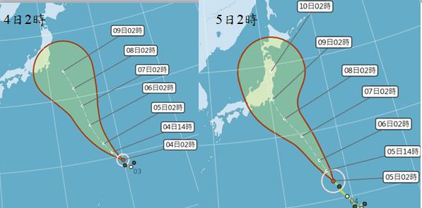 最新(5日2時)中央氣象局「路徑潛勢預測圖」(右圖)顯示,「珊珊」向北北西,朝日...