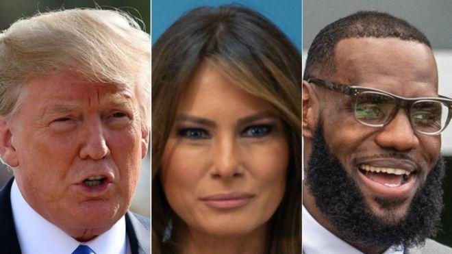美國第一夫人梅蘭妮亞(中圖)4日發表聲明支持職籃球星詹姆斯(右圖),明顯和她先生...