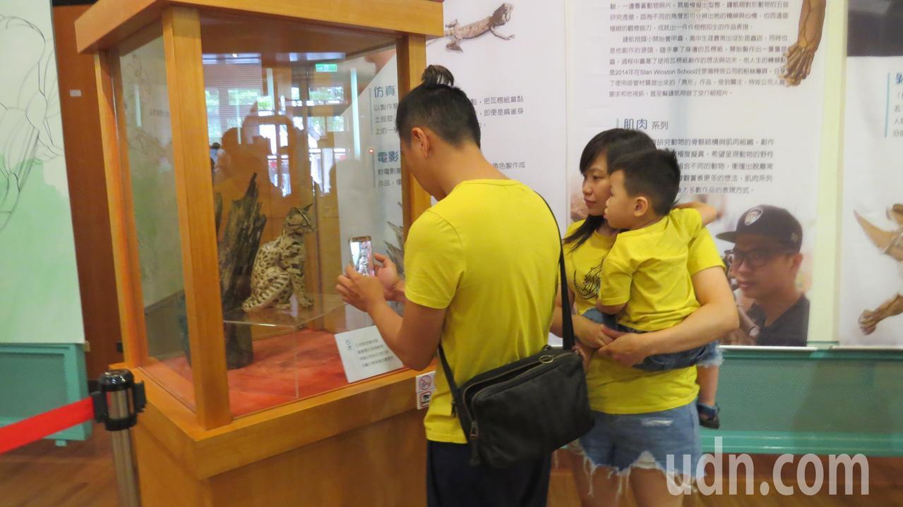 苗栗縣頭份市「瓦楞紙雕主題展」吸引大人小孩參觀,瓦楞紙雕作品讓人驚艷。記者范榮達...