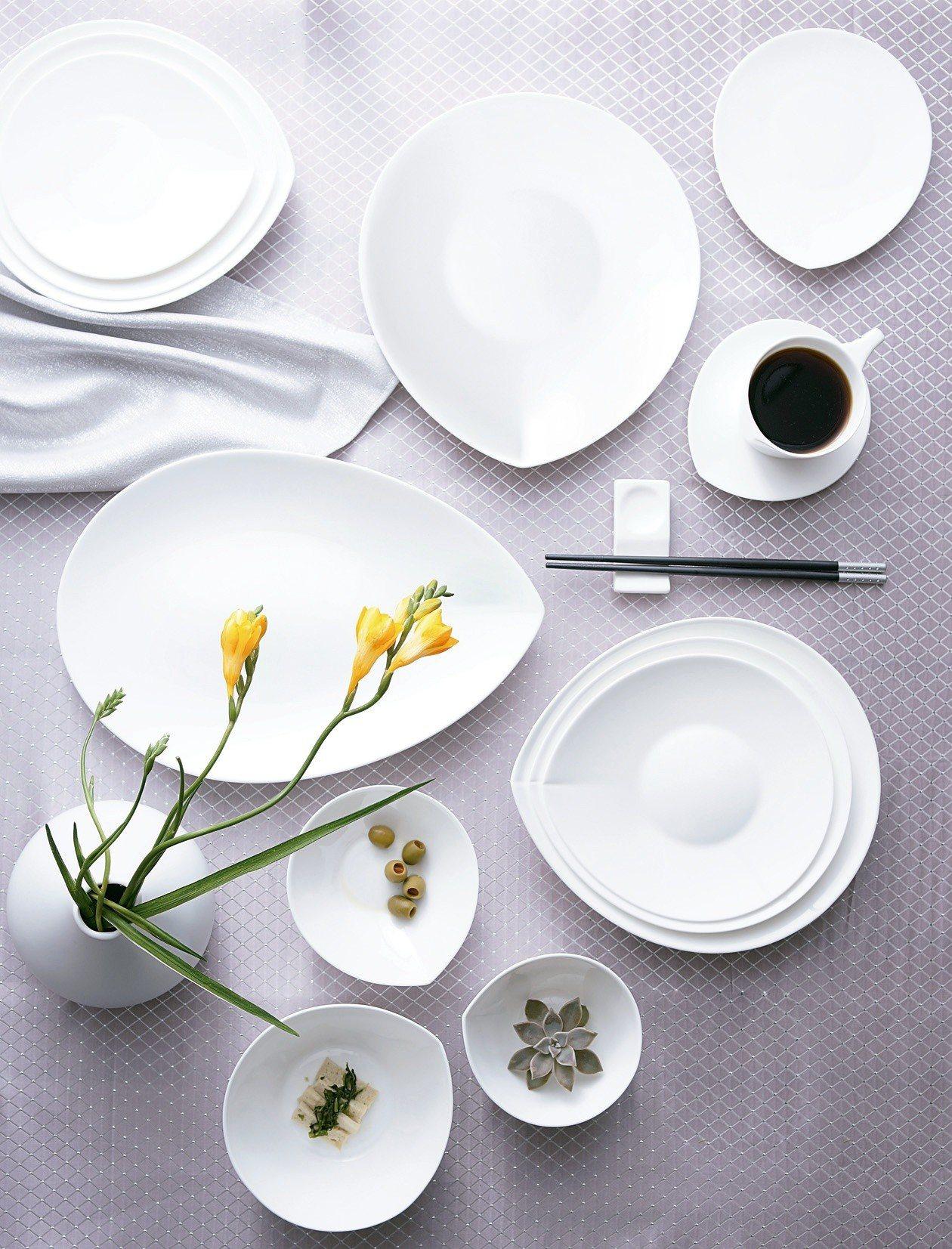 HOLA獨家設計人魚線骨瓷餐具系列,全面5折。圖/HOLA特力和樂提供