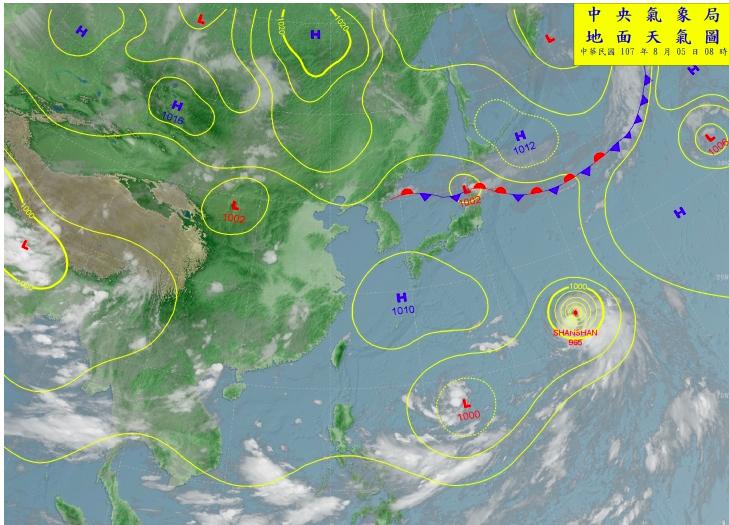 中央氣象局表示在菲律賓東方海面有一個低氣壓,有機會形成颱風,會往日本方向前進。圖...