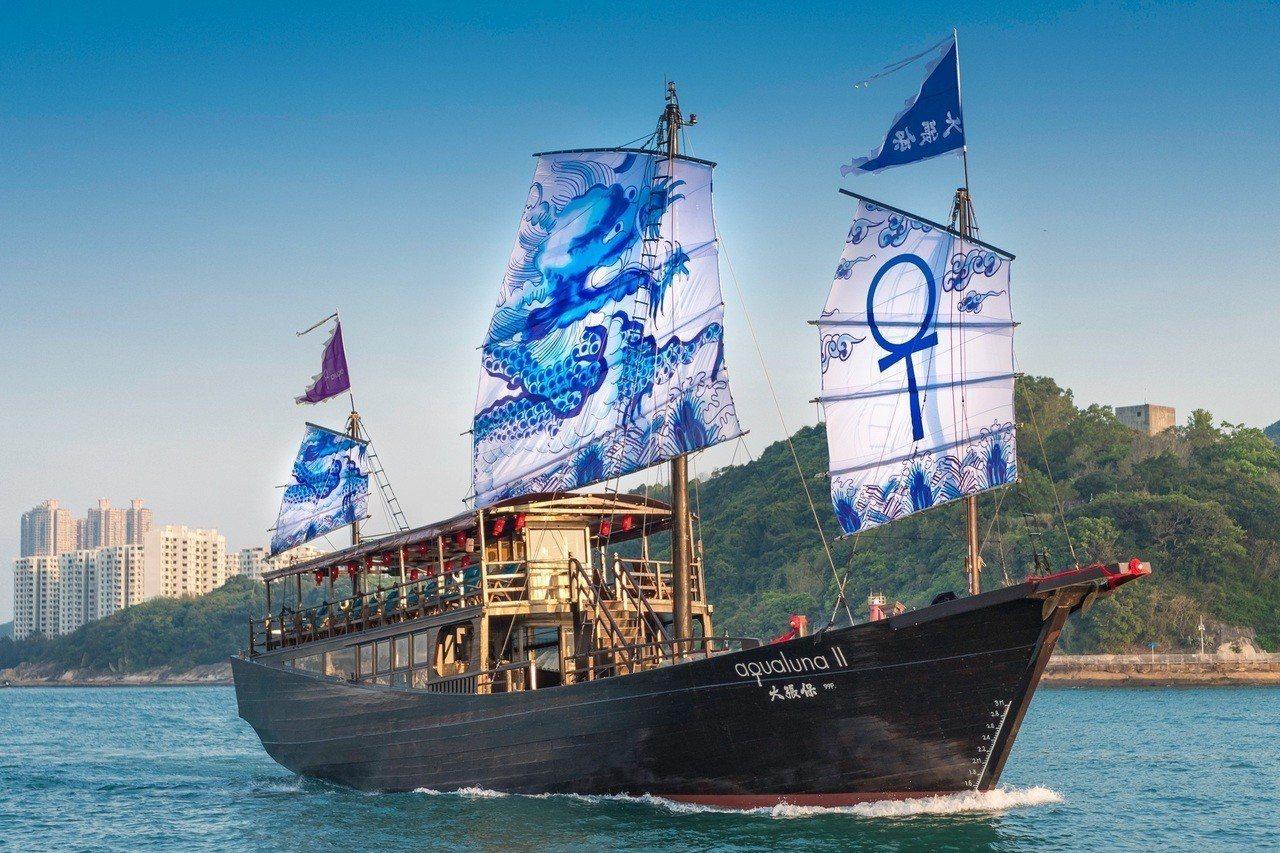 「大張保號」帆上畫著明朝的青花龍紋旗幟」。圖/香港旅遊局提供