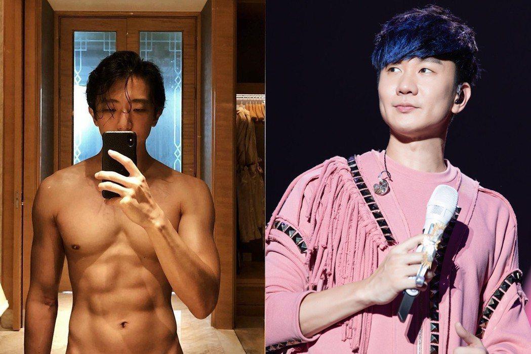 林俊傑(右)受到懷秋Po裸身照的刺激,放話要送福利。圖/摘自IG、JFJ Pro