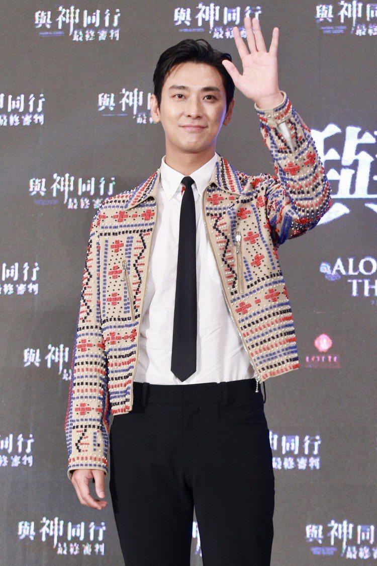 「與神同行」演員朱智勛中午出席在台北文華東方舉行的亞太國際記者會。圖/記者林伯東...