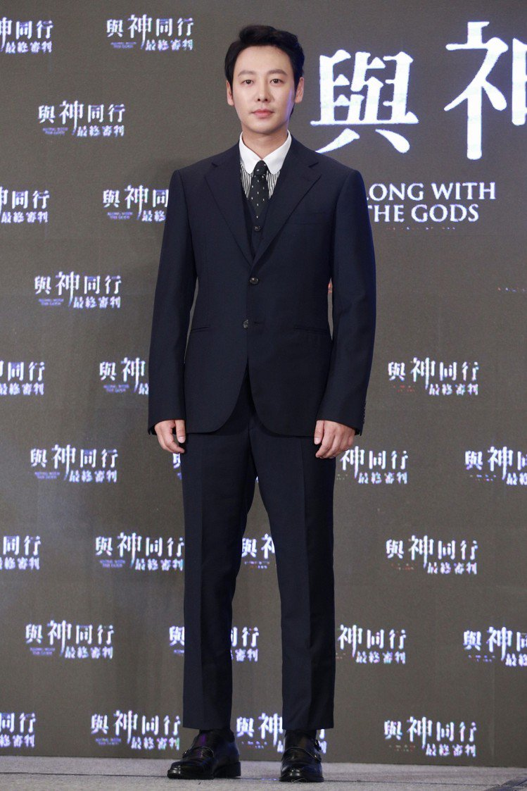 「與神同行」演員金東旭出席在台北文華東方舉行的亞太國際記者會。圖/記者林伯東攝影