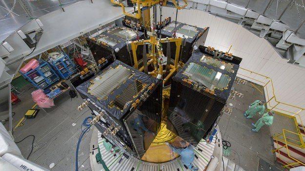 亞利安5號火箭(Ariane 5)載送4枚伽利略(Galileo)所屬衛星進入軌...