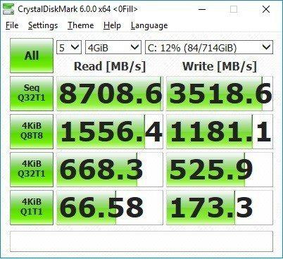 英特爾與華碩ROG斂無之下,G703GI在CrystalDiskMark跑分很逆...