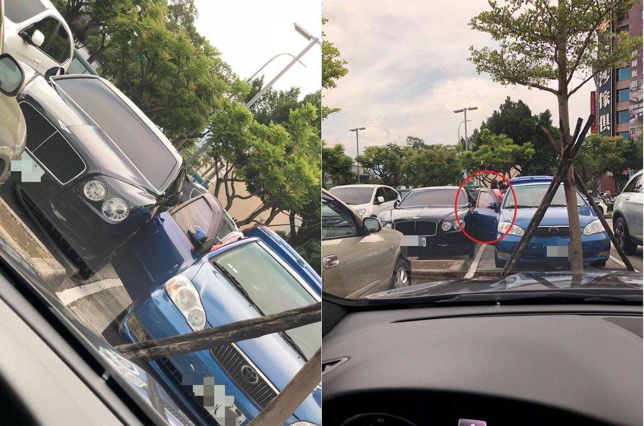 網友在好市多內湖店室外停車場拍到一位女子打開車門時,不小心碰撞到停在旁邊的賓利汽...