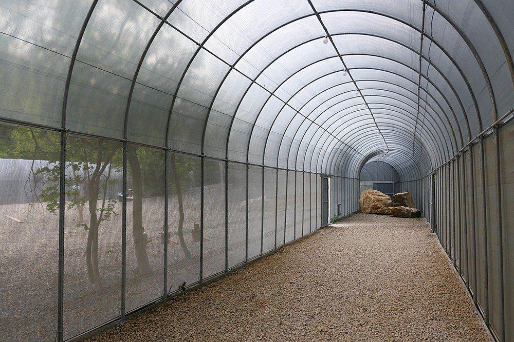 長達300公尺的拱圈長廊,以銀灰色網布與輕型鋼管構建,未來也會成為活動教室。