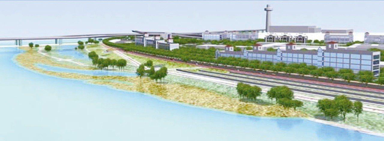 洲美堤防及河川區灘地整建,圖為外灘地整建模擬圖。圖/台北市工務局水利工程處提供