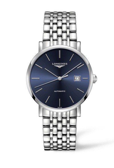 浪琴Elegant優雅系列藍面刻度腕表,表徑39毫米,搭載L888.2機芯提供6...