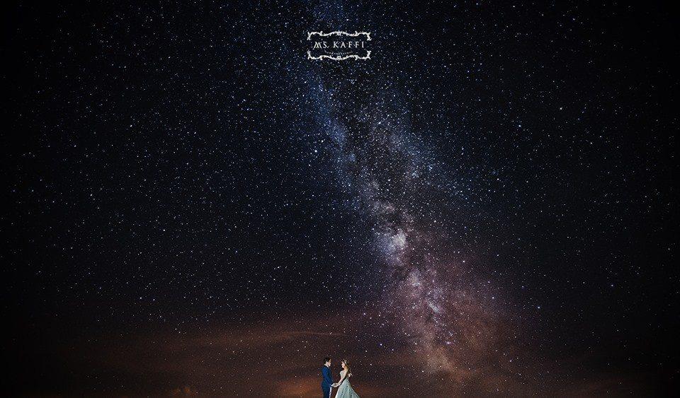 香港新人Kingsley和Mandy夢想讓合歡山銀河成婚紗背景,上月在攝影家梁琇...