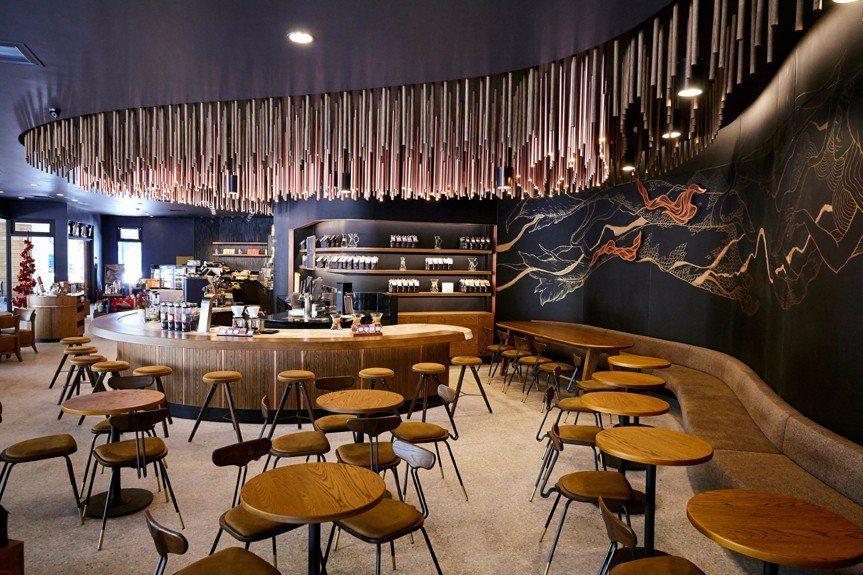 開賣咖啡啤酒的台中大英門市融入壁畫創作者紀人豪作品,宛如藝術咖啡館。圖/星巴克提...