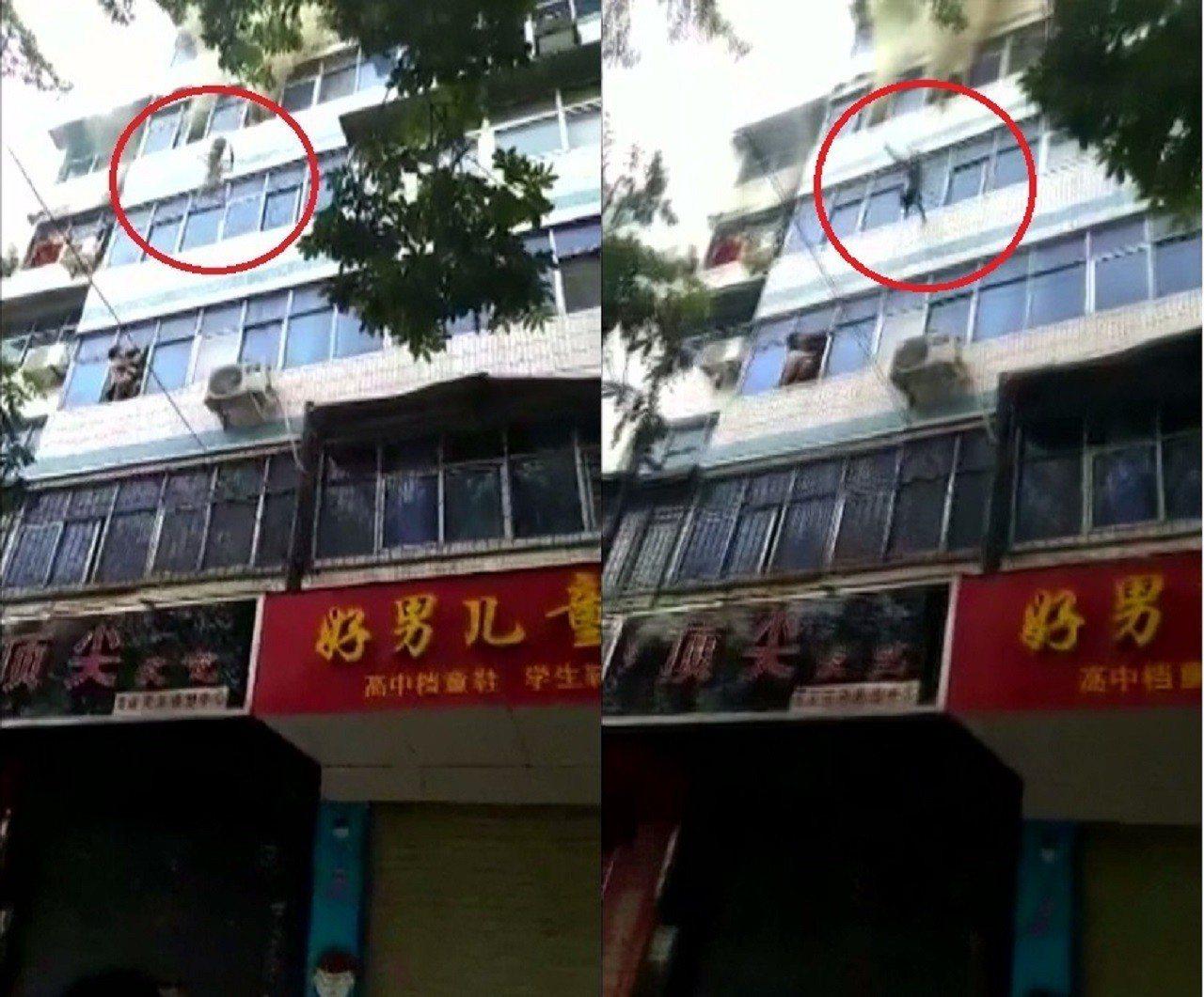 大陸河南省4日一起公寓大火,受困母親無計可施之下,將兒女從5樓窗口丟出,所幸都順...