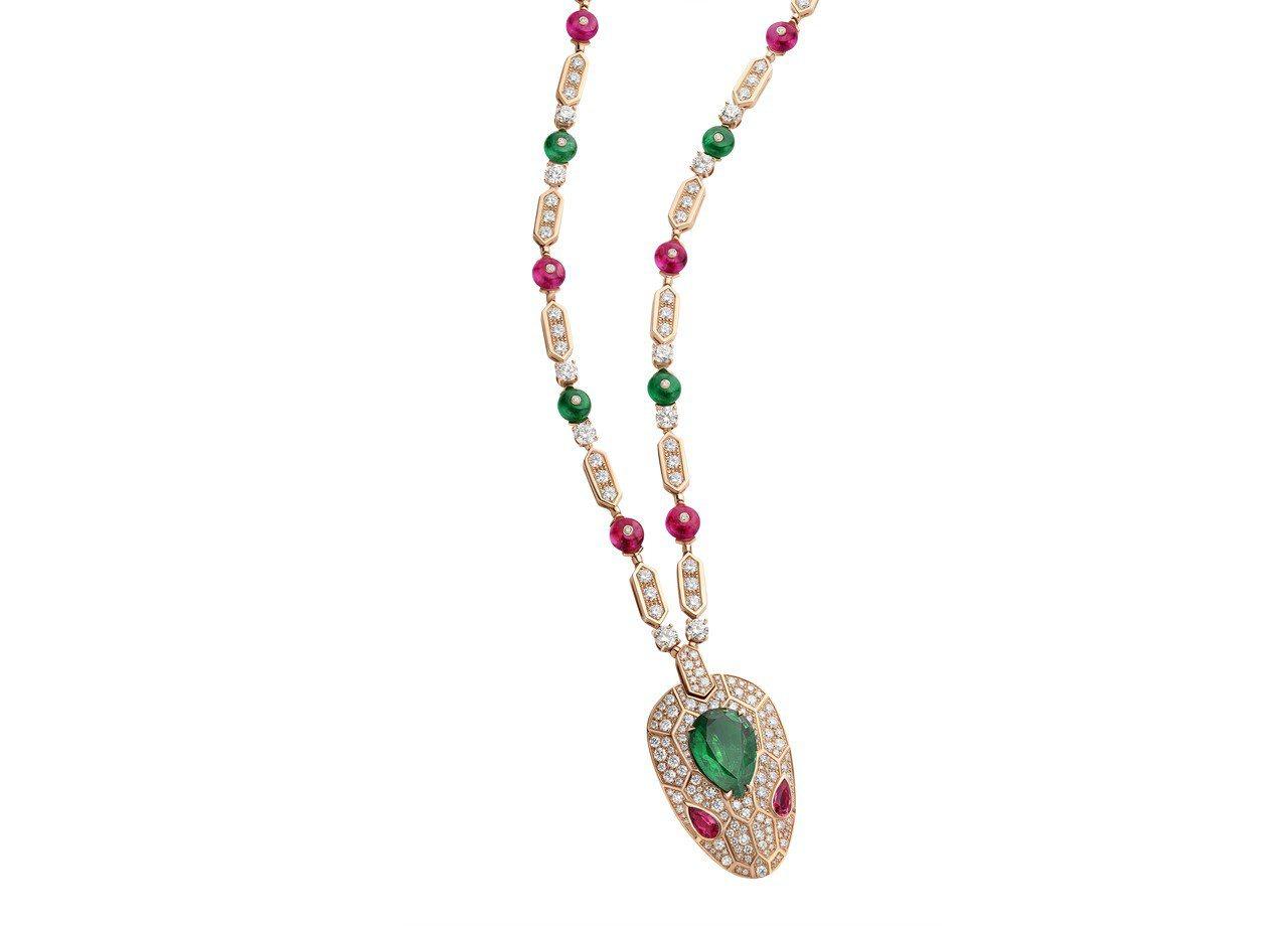 BVLGARI SERPENTI系列頂級祖母綠與紅碧璽鑽石項鍊。圖/BVLGAR...