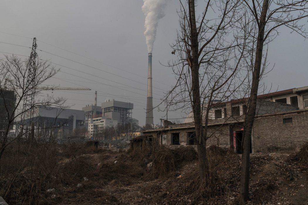大陸北方山西省臨汾市的一座煤電廠。當地空汙嚴重。(紐時網站)