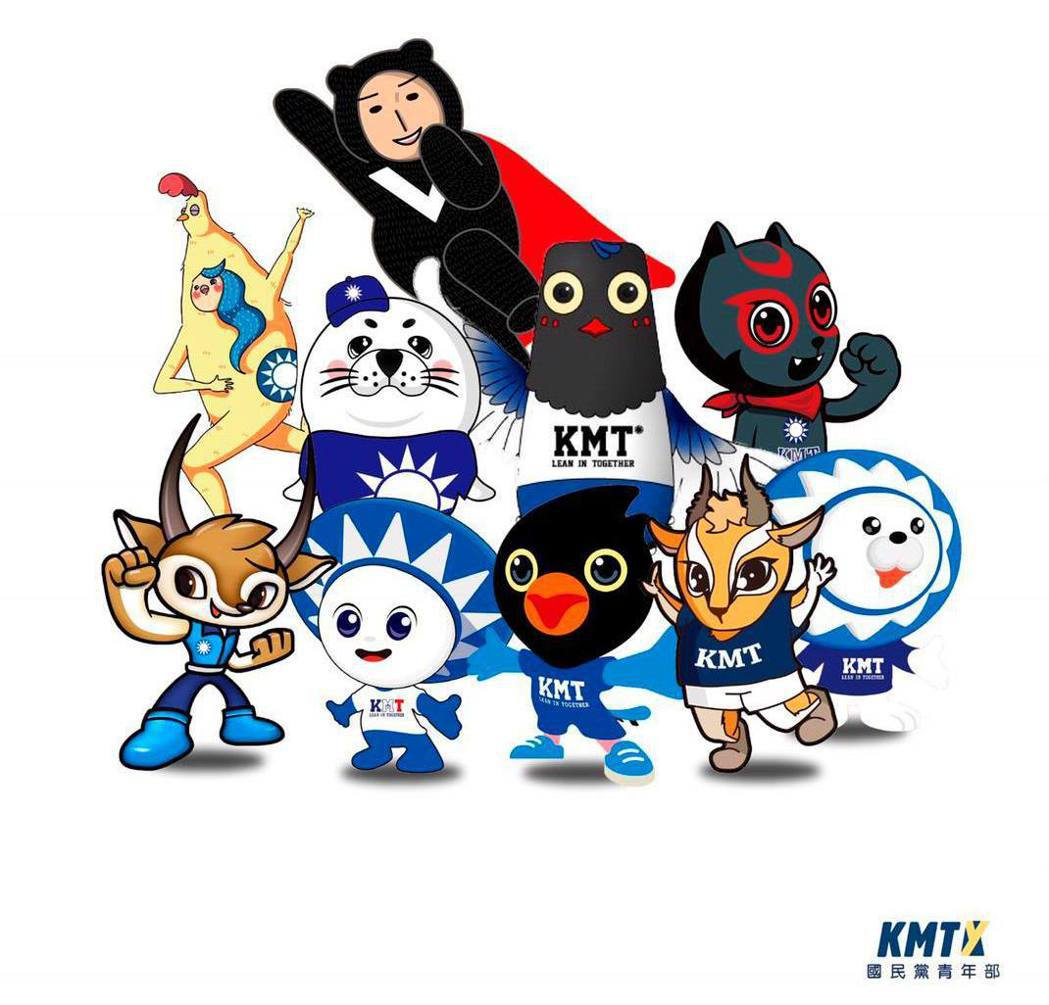 國民黨青年部舉辦吉祥物票選活動,入圍10強出爐。 圖/取自國民黨青年部臉書