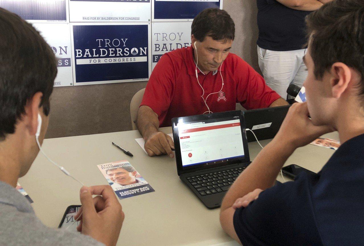 共和黨候選人波德森(Troy Balderson)。 世界日報記者張大順/攝影