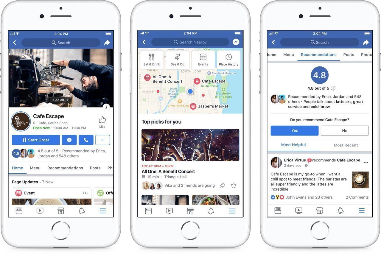臉書推出4大項社群新功能,包括提升企業粉絲專頁、新增「推薦」功能、建立更多活動、...