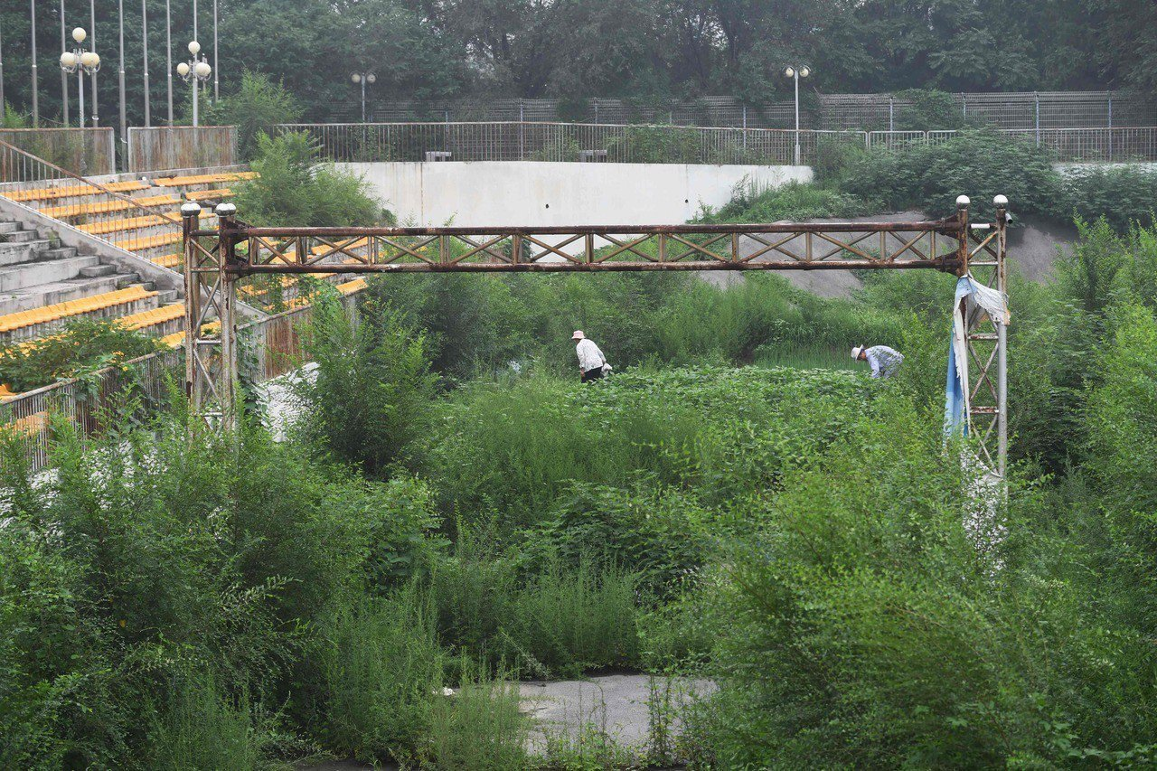 2008的北京奧運,如今變的雜草叢生。 法新社