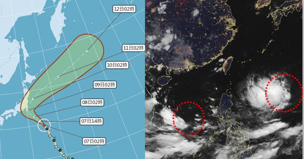 7日清晨4時真實色調衛星雲圖顯示,在菲律賓東方及南海(紅虛圈)都有熱帶擾動正在發...