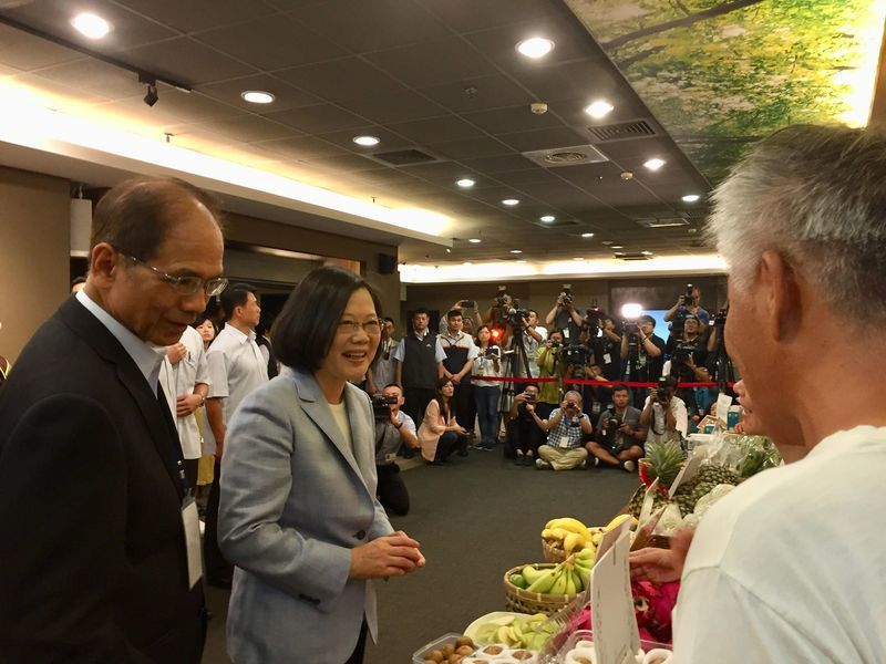 總統蔡英文參訪有機農業攤位與小農互動,對「可以吃的香蕉皮」相當有興趣。(phot...