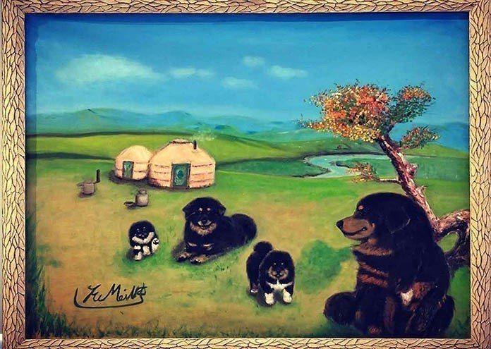 張富美,認為狗不僅有豐富多變的情感,所以她的繪畫主題始終鎖定在狗狗身上。 王金文...