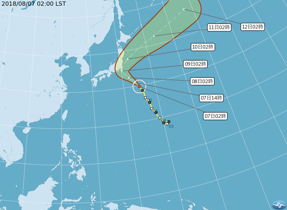珊珊沿著太平洋高壓,向西北進行。圖/翻攝自氣象局網站